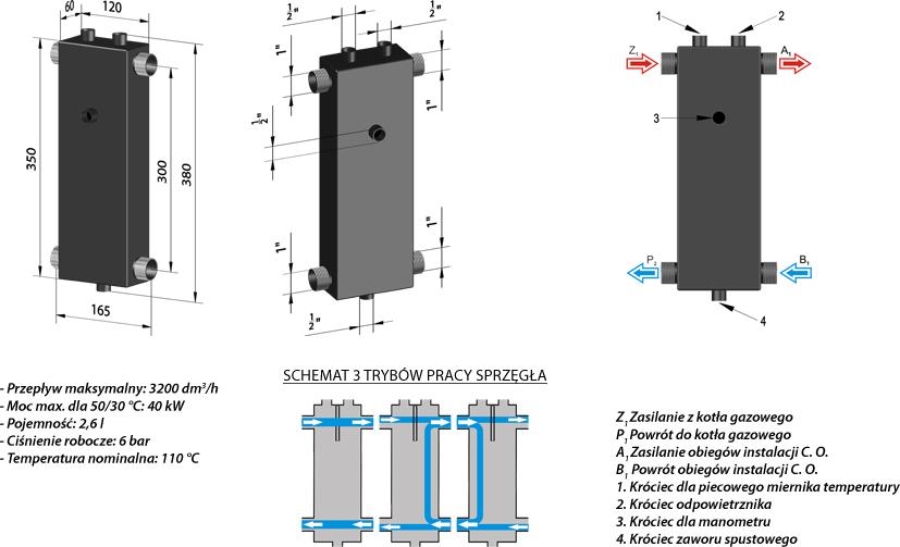 PureSun Sprzęgło hydrauliczne C. O. do 40 kW - SP 40u