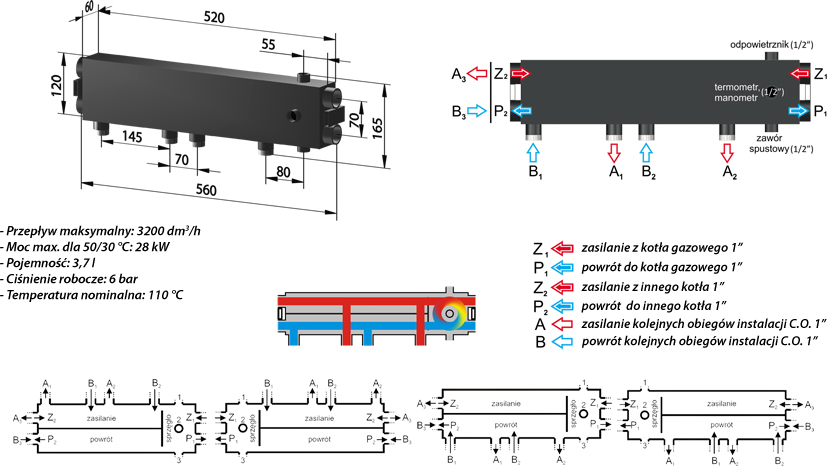 PureSun Sprzęgło-rozdzielacz C. O. do 28 kW - SPR 28u